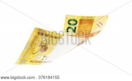 20 Reais Bill From Brazil, Brazilian Money On Isolated White Background