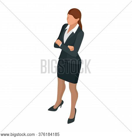 Isometric Business Woman Isolated On Write. Creating An Office Worker Character, Cartoon People. Bus