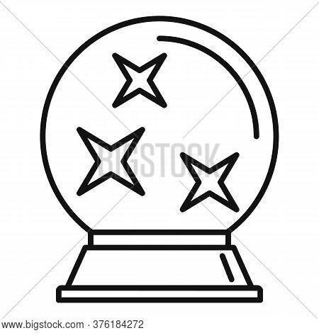 Fortune Teller Glass Ball Icon. Outline Fortune Teller Glass Ball Vector Icon For Web Design Isolate