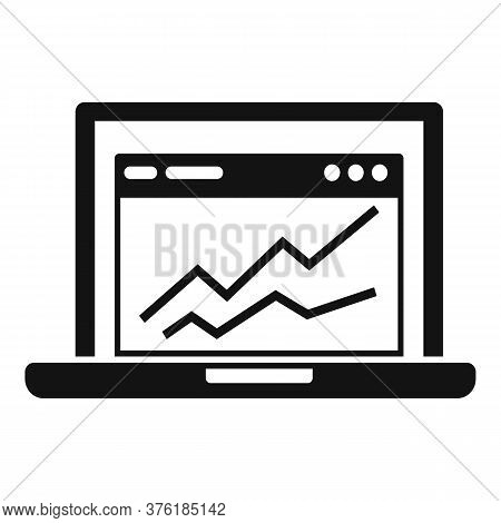 Accounting Laptop Graph Icon. Simple Illustration Of Accounting Laptop Graph Vector Icon For Web Des