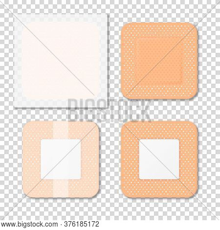 Vector 3d Realistic Medical Patch Icon Set Closeup Isolated On Transparent Background. Design Templa