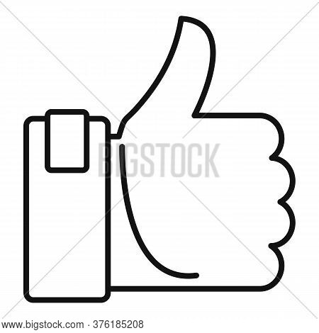 Excellence Thumb Up Icon. Outline Excellence Thumb Up Vector Icon For Web Design Isolated On White B