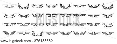 Angel Wings Icons Set. Outline Set Of Angel Wings Vector Icons For Web Design Isolated On White Back