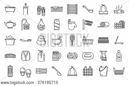 Sauna Relax Icons Set. Outline Set Of Sauna Relax Vector Icons For Web Design Isolated On White Back