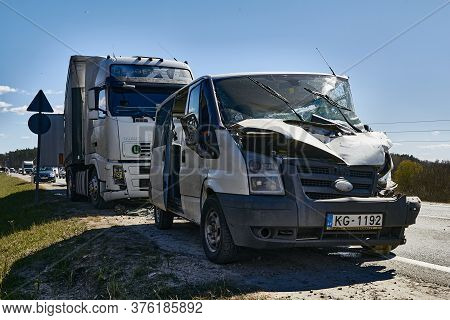 Car Accident: Van After Collision With Truck