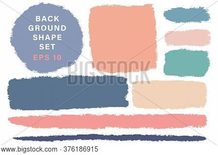 Vector Hand Drawn Various Geometric Shapes Set For Backdrops. Colorful Artistic Hand Drawn Backgroun