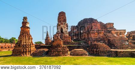 Architecture At Ayutthaya Historical Park On A Sunny Day In Ayutthaya Province, Thailand. Structures