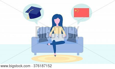 Online Chinese Learning, Distance Education Concept. Language Training And Courses. Woman Student St