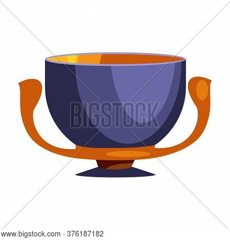 Antique Blue Cup With Two Handles Flat Icon. Kylix, Greek Style, Antiquity. Greek Vases Concept. Ill
