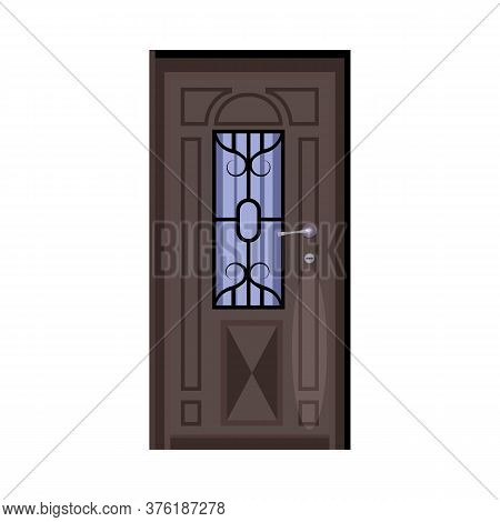 Grey Facade Door With Lattice Window. Entry, Exit, Doorway. Illustration Can Be Used For Topics Like