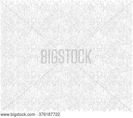 Wide High-tech Technology Background Texture. Circuit Board Vector Illustration. Vector Electronic C