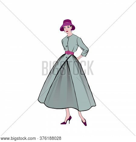 Retro Fashion Dressed Woman (1950's 1960's Style): Stylish Young Lady In Vintage Clothes. Autumn Fas