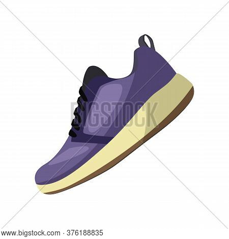 Fitness Shoe With Rubber Sole. Modern Blue Sneaker With Lace. Can Be Used For Topics Like Shopping,