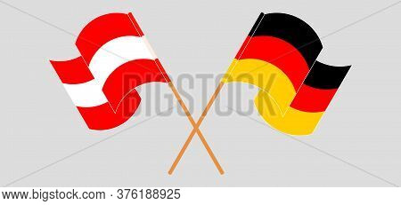 Crossed And Waving Flags Of Austria And Germany. Vector Illustration