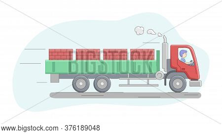 Construction Concept. Truck Flatbed Van Loaded By Brick On Pallets. Worker Riding Truck. Constructio