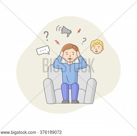 Depression Concept. Male Character Suffers From Depression. Puzzled Man Sitting In Armchair With Lot