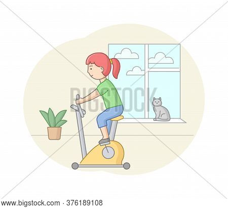 Fitness Concept, Health, Body Care And Active Sport. Female Character Is Exercising In Gym Or At Hom