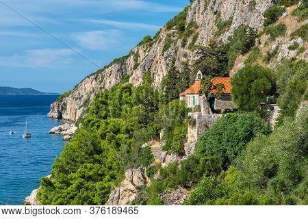 Small croatian town Seget Donji near the Trogir town at Adriatic coast, Croatia. Beautiful Mediterranean seascaoe in Croatia