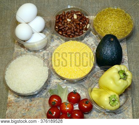 Ingredients For Instant Cooking Of Delicious Bulgur: Rice, Eggs, Bell Peppers, Cherry Tomatoes, Corn
