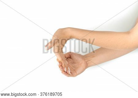 Stretching Arms. Healthy Workout Exercise. Woman Hand Massage For Carpal Tunnel Syndrome Protection.