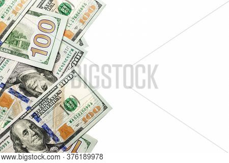 Money Background. One Hundred Dollars Of America. Usd Cash Money Isolated On White.