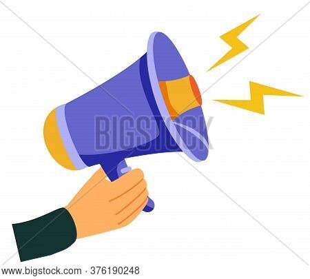 Attention Please. Hand Hold Megaphone. Speaker, Loudspeaker. Advertising And Promotion Symbol. Bullh