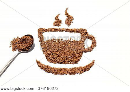 Coffee Cup Silhouette Made Of Instant Coffee Granules, Coffee Break, Invigorating Hot Drink