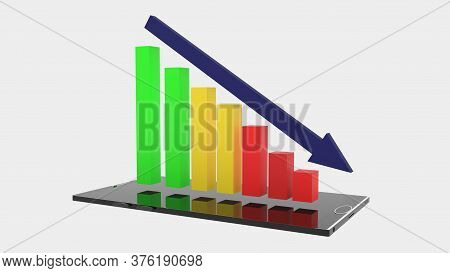 3d Rendering Of Black Smartphone With Red, Yellow, Green And Blue Descending Bar Graph Hovering Over