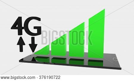 3d Rendering Of Black Smartphone With Green And Black 4g Mobile Data Icon Hovering Over It, All Floa