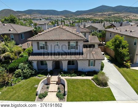Aerial View Of Big Villa In A Suburban Neighborhood In San Diego, California, Usa. Aerial View Of Re