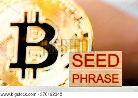 Recovery Phrase Concept. Wooden Blocks With The Phrase Seed Phrase With Bitcoin On The Background
