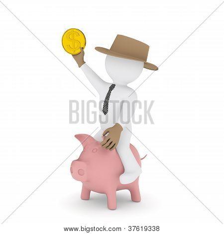 Businessman Cowboy Riding On Piggy Bank