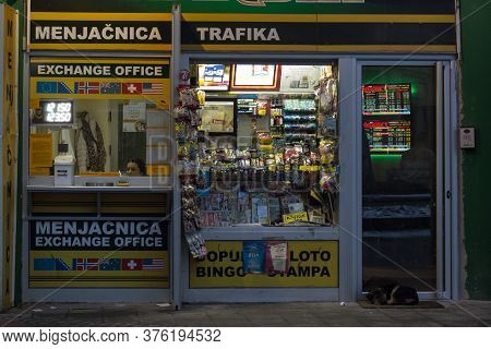 Belgrade, Serbia - January 24, 2016: Serbian Exchange Office, Called Menjacnica, Next To A Trafika K