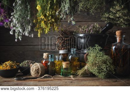 Hanging Bunches Of Medical Herbs, Mortar And Bowl With Dried Medicinal Plants, Infusion And Essentia