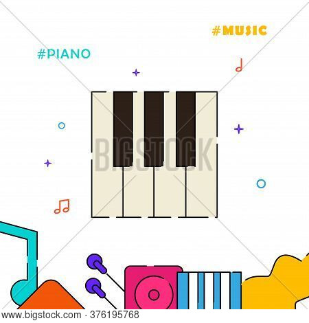 Pianist, Piano Player, Piano Keys Filled Line Vector Icon, Simple Illustration, Related Bottom Borde