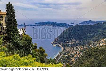Scenic View Of The Mediterranean Coastline, The Alpes Mountains And Medieval Houses From The Top Of