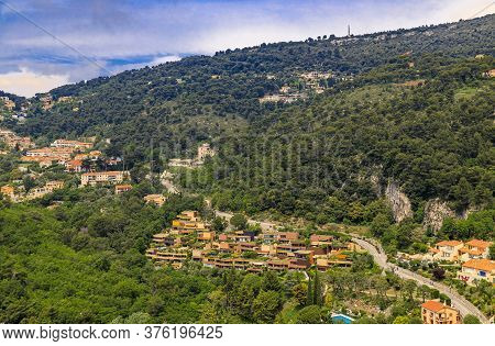 Scenic View Of The French Alps Along The Mediterranean Coastline From The Top Of The Town Of Eze Vil
