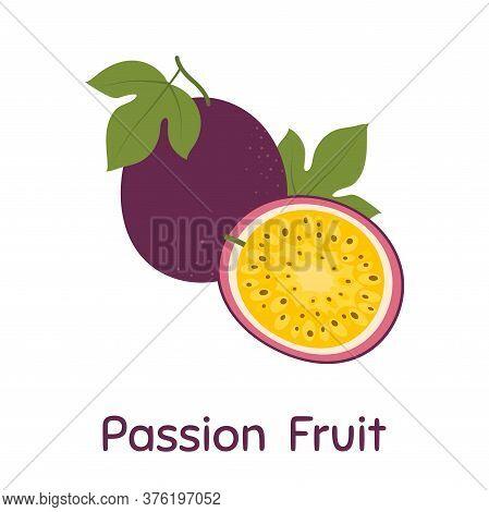 Passion Fruit. Vector Illustration Eps. Illustration On White Background