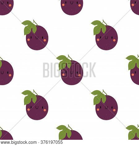 Kawaii Cartoon Passion Fruit. Seamless Vector Patterns In Flat Style.