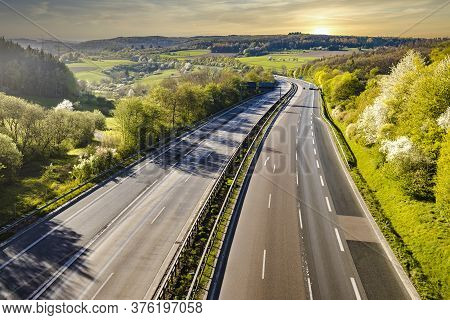 Autobahn Landscapewith Sunset  In Germany In Summer.