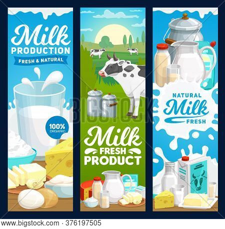 Farm Dairy And Milk Products Banners, Vector Farm And Food Yogurt And Butter. Dairy Farm Cow And Agr