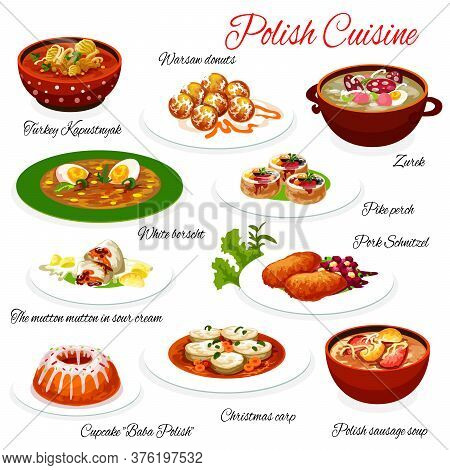 Polish Cuisine Food, Poland Restaurant Menu Dishes, Gourmet Authentic Meals. Polish Sausage And Cabb