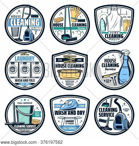 Cleaning And Laundry Housework Icons, Wash And Clean Service, Vector. Home Cleaning And Laundry Wash
