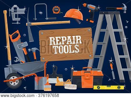 Construction Diy Tools And Equipment, Repair, Building And Carpentry Work Vector Hardware. Woodwork,