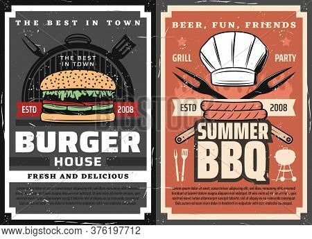 Meat Burgers And Bbq Posters, Grill Food Party, Vector Barbecue Steaks And Sausages. Summer Bbq Char