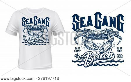 Crab T-shirt Print Mockup, Surfing Club, Sea Waves. Sea Gang Of Beach Quote Of Ocean Surf Sporting T