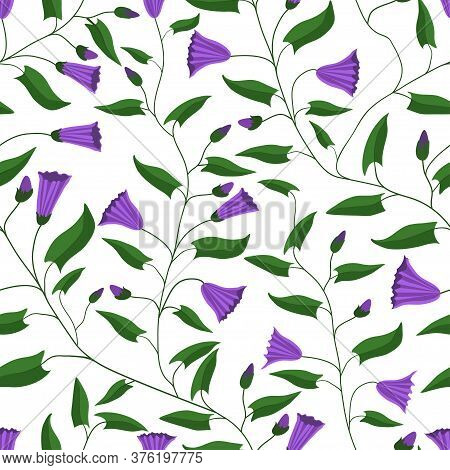 Seamless Pattern. Flowers And Leaves Of The Field Bindweed. For Gift Packaging, Fabric And Other Pri