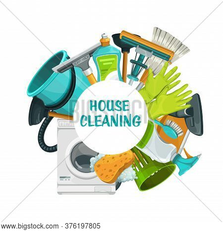 Cleaning Tools Banner, Clean House Service, Vector Household Laundry Detergents And Equipment. Home