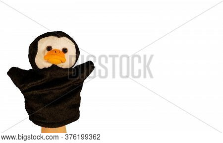 Soft Puppet Toy On Isolated White Background. Close Up Of Puppet Penguin. Concept Of Puppet Show.