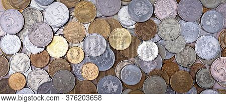 Russian Coins Metal Money Rubles And Kopecks.